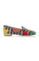 Charlotte Olympia M'O Exclusive Fruit Salad Embroidered Canvas Slippers