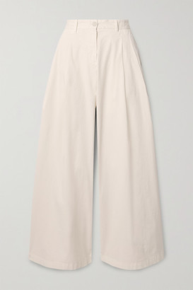 Nili Lotan Marbella Stretch-cotton Twill Wide-leg Pants - Ivory