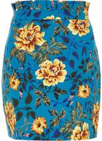 River Island Womens Blue floral print paperbag mini skirt