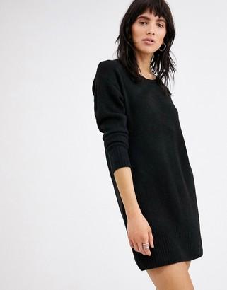 Ichi round neck jumper dress-Black