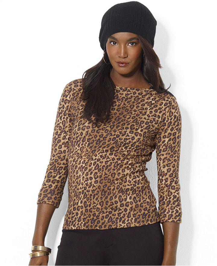 Lauren Ralph Lauren Top, Long-Sleeve Animal-Print Boat-Neck Tee
