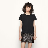 Maje Linen T-shirt with leather detailing