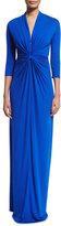 Shoshanna 3/4-Sleeve Twist-Front Column Gown, Azure