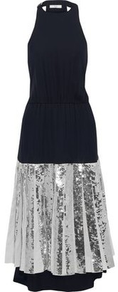 Tibi Pleated Sequin-embellished Poplin And Silk-georgette Midi Dress