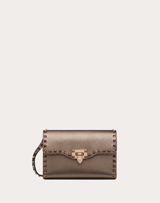 Valentino Small Rockstud Metallic Grainy Leather Crossbody Bag Women Stone 100% Pelle Di Vitello - Bos Taurus OneSize