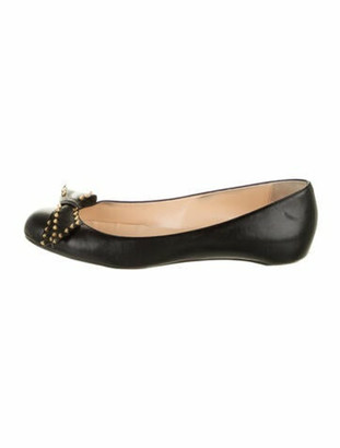 Christian Louboutin Spike Accents Leather Ballet Flats Black