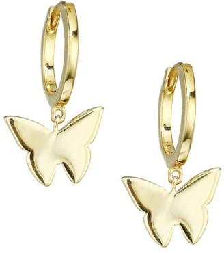 Jennifer Zeuner Jewelry Mariah 14K Goldplated Sterling Silver Butterfly Charm Huggie Earrings