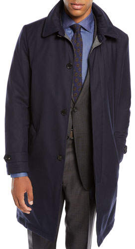 Neiman Marcus Men's Water-Resistant Raincoat in Wool