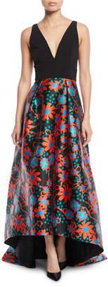 Theia Sleeveless Floral-Dot Ball Gown