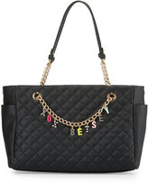 Betsey Johnson Give Me A B Quilted Satchel Bag, Black