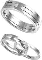 JewelryBadger 925 Sterling Silver Twin Designer Set Straight Ring Size 6