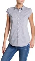 Susina Cap Sleeve Novelty Button Up Shirt