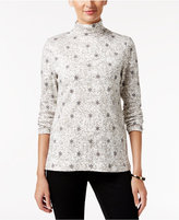 Charter Club Snowflake-Print Turtleneck Top, Only at Macy's