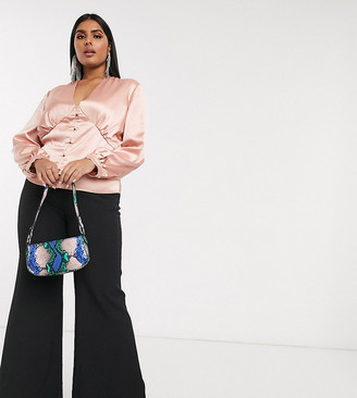 Club L London Plus tailored flare pant in black