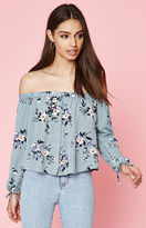 KENDALL + KYLIE Kendall & Kylie Floral Off-The-Shoulder Button Front Top