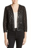 The Kooples Women's Faux Leather Trim Lace Jacket