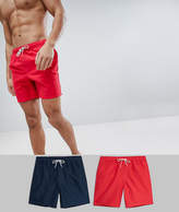 Asos Swim Shorts 2 Pack In Red And Navy In Mid Length SAVE