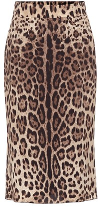 Dolce & Gabbana Leopard-print stretch-silk skirt