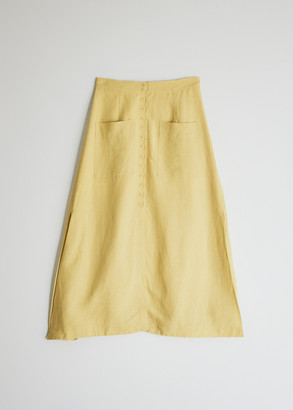 Mijeong Park Women's Button Front Maxi Skirt in Yellow, Size Extra Small