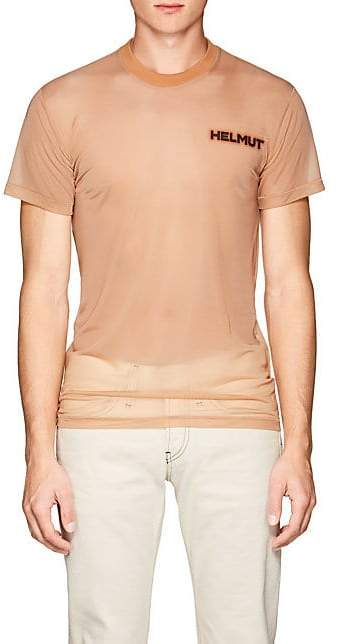 "Helmut Lang Men's ""In Lang We Trust"" Mesh T-Shirt - Beige, Tan"