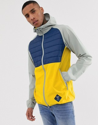 Barbour Beacon Gable hooded color block jacket in gray