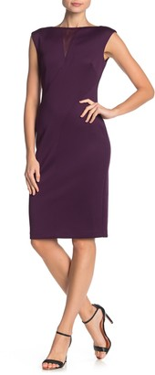Vince Camuto Mesh Inset Scuba Sheath Dress (Regular & Plus Size)