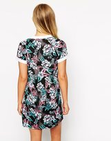 Influence Tropical Print Shift Dress With Collar