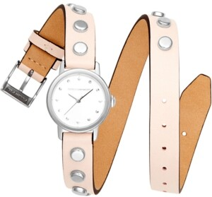 Rebecca Minkoff Women's Bffl Silver-Tone Stud & Blush Double Wrap Leather Strap Watch 25mm