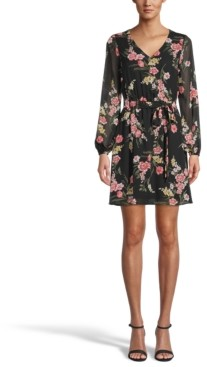Bar III Printed Chiffon Dress, Created for Macy's