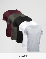 Asos 5 Pack T-Shirt With Scoop Neck