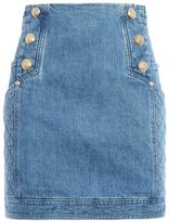 Balmain Button Detailed Denim Mini Skirt