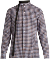 Raf Simons Belted-neck checked linen shirt