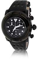 Glam Rock Unisex Quartz Watch with Black Dial Analogue Display and Black Leather Strap 0.96.3329