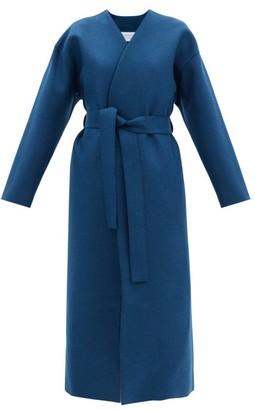 Harris Wharf London Belted Pressed-wool Coat - Blue