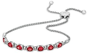 Bloomingdale's Ruby and Nude Diamond Bolo Bracelet in 14K White Gold - 100% Exclusive