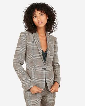 Express Plaid Notch Collar One Button Blazer