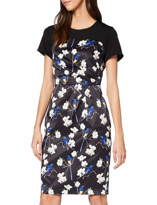 Yumi Women's Oriental Bird and Blossom Ruched Dress
