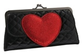 Black Quilted Glitter Heart Kisslock Wallet