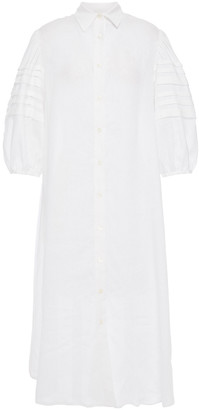 Paul & Joe Pleated Linen-gauze Midi Shirt Dress