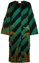 Marco De Vincenzo Palm tree-fringed collarless coat
