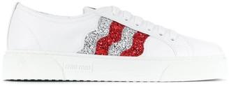 Miu Miu Glitter Stripe Sneakers