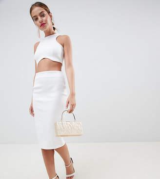Asos DESIGN Petite super cut out bodycon midi dress-White