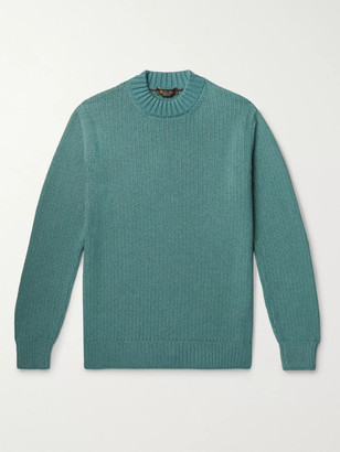 Loro Piana Ribbed Melange Silk and Cashmere-Blend Sweater - Men - Green