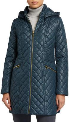 Via Spiga Diamond Stitch Hooded Quilt Coat