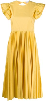 RED Valentino Open-Back Pleated Dress