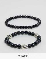 Asos Beaded Bracelet Pack With Skull Detail