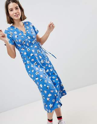 People Tree Wrap Midi Dress In Floral-Blue