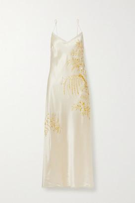 Carine Gilson Lace-trimmed Printed Silk-satin Nightdress - Cream