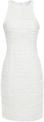 Halston Georgette-paneled Ruched Crepe De Chine Dress