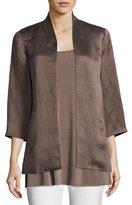 Eileen Fisher Organic-Linen/Silk Satin Jacket, Plus Size